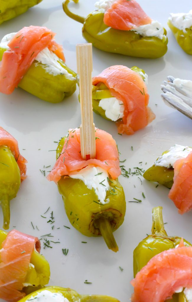 Smoked Salmon and Cream Cheese Stuffed Pepperoncini