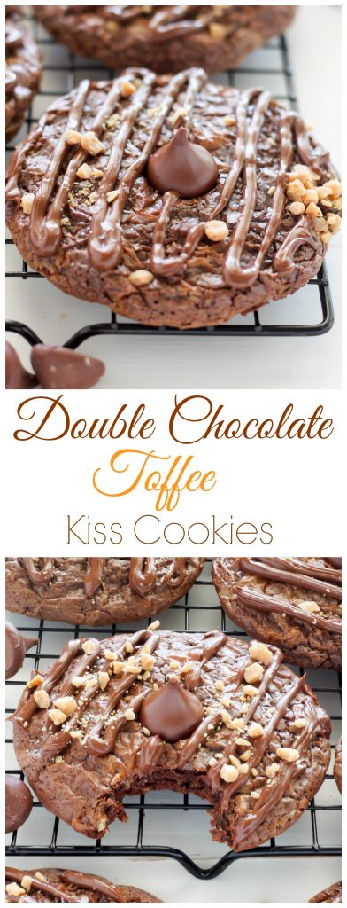 Double Chocolate Kiss Cookies - Thick and Chewy Double Chocolate Cookies are topped with a chocolate drizzle, toffee bits, and a chocolate kiss! A chocolate lovers dream.