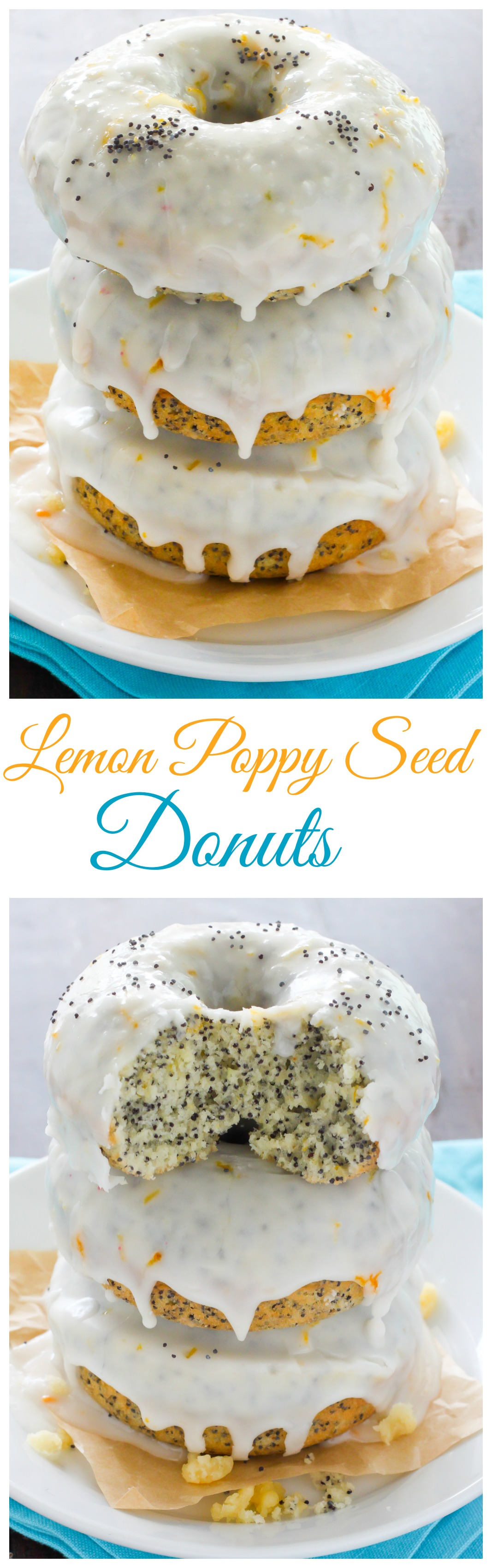 Light and Fluffy, these Homemade Lemon Poppy Seed Donuts are baked not fried! Ready in just 15 minutes!