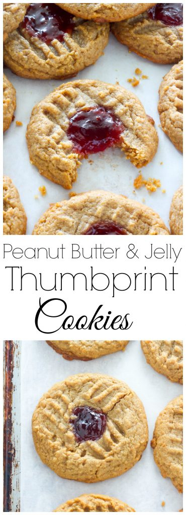 Flourless Peanut Butter and Jelly Thumbprint Cookies