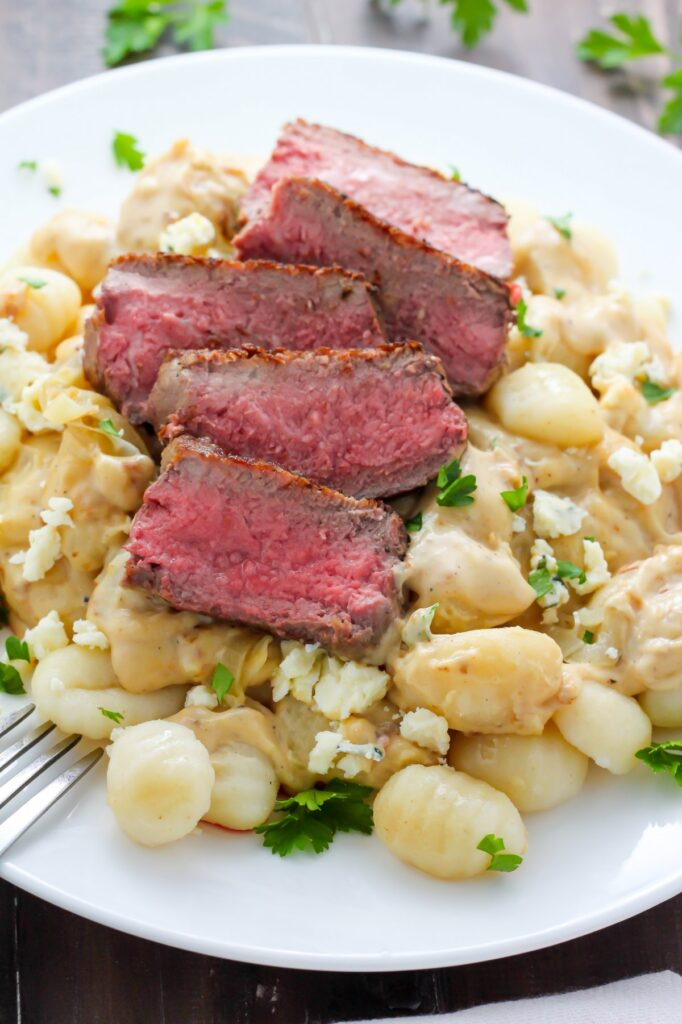 Steak and Blue Cheese Alfredo Gnocchi - ULTIMATE comfort food right here!
