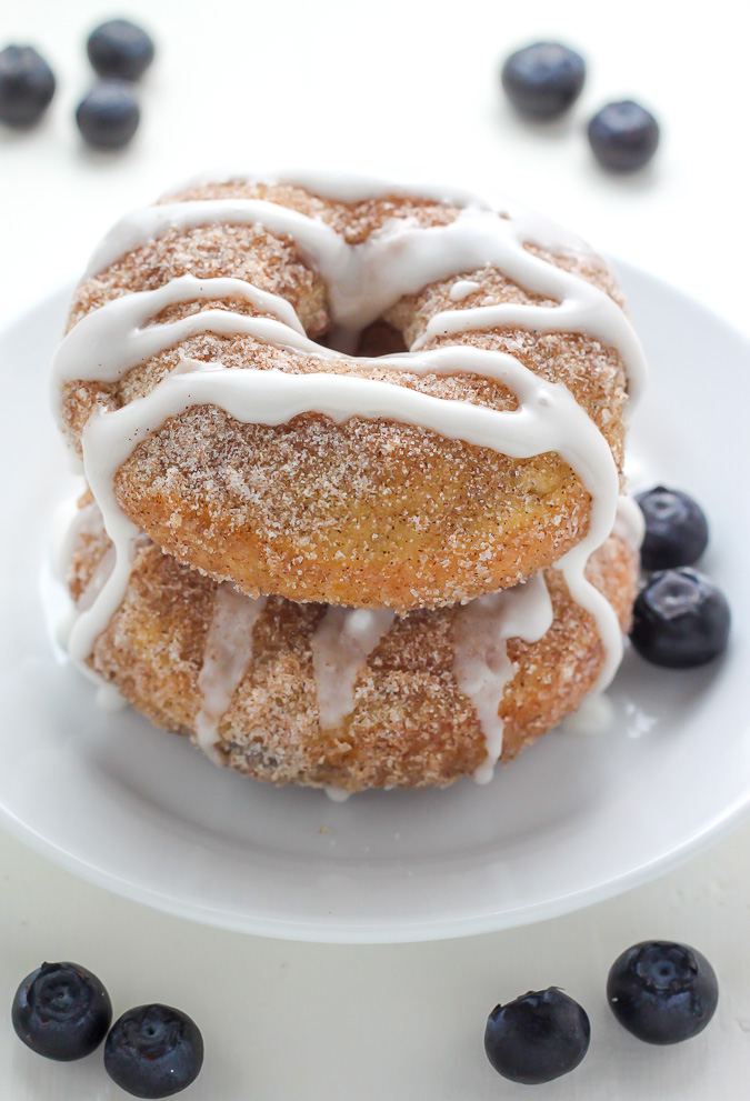 Blueberry Cinnamon Sugar Donuts with Vanilla Glaze - Oh man these are amazing!