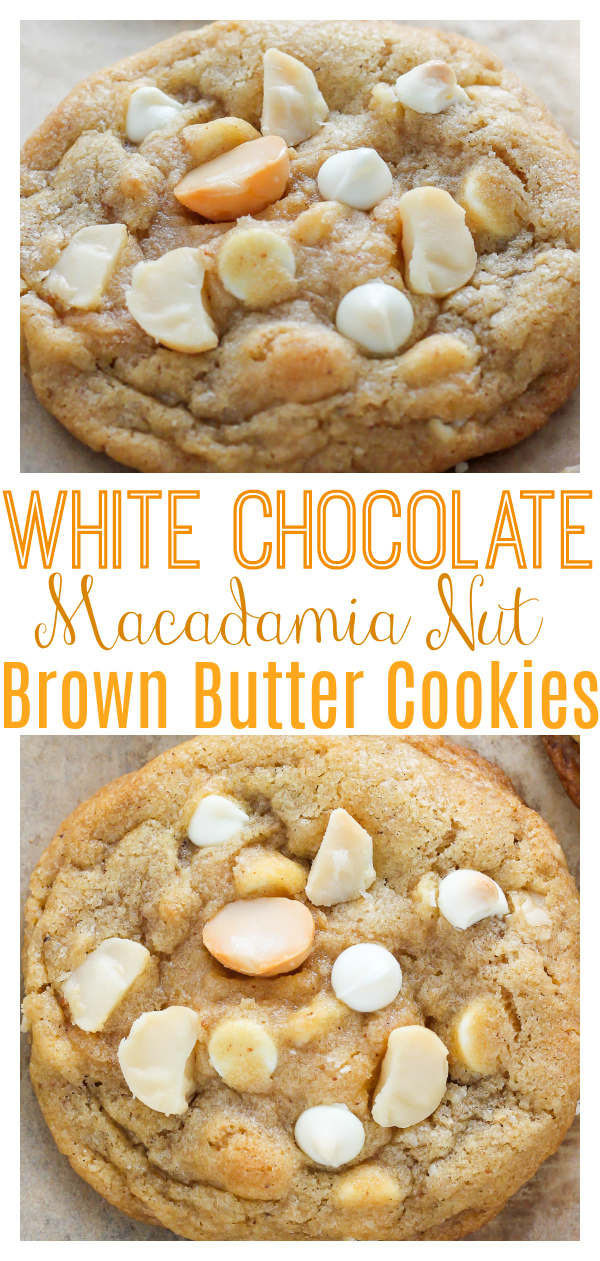 The only thing better than regular white chocolate macadamia nut cookies is BROWN BUTTER White Chocolate Macadamia Nut Cookies! They're thick, chewy, and so flavorful thanks to the brown butter addition. Loaded with creamy white chocolate and crunchy macadamia nuts, these are a classic!