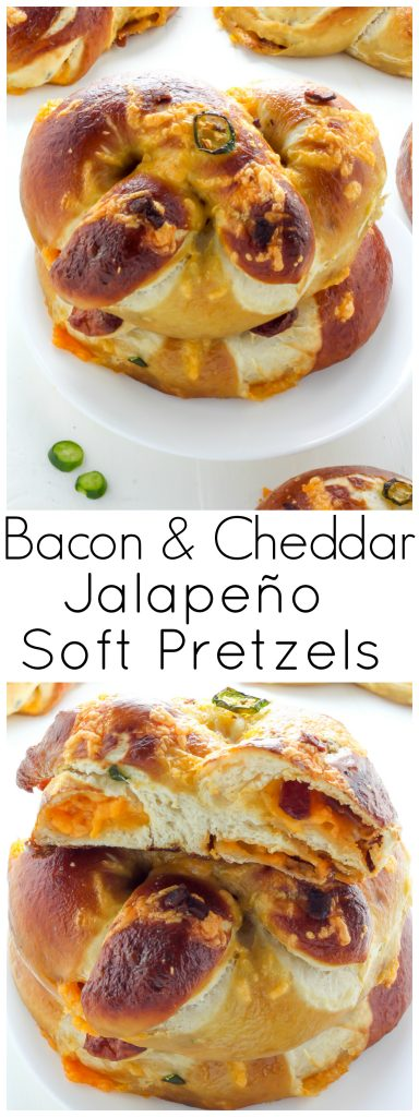 Bacon and Cheddar Stuffed Jalapeno Soft Pretzels