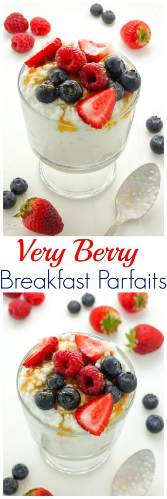 Very Berry Breakfast Parfaits - Creamy Honey and Cinnamon Swirled Breakfast Parfaits are topped with a trio of fresh berries! The best part? This healthy and delicious protein-packed treat is ready in 5 minutes!