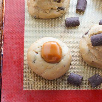 Salted Caramel Stuffed Chocolate Chunk Cookies