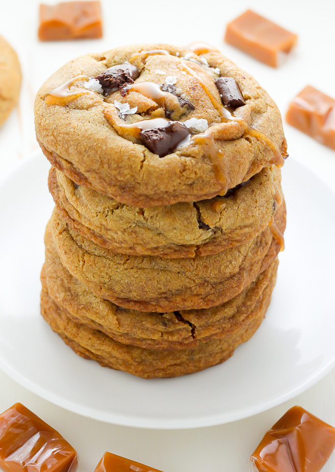 Salted Caramel Stuffed Chocolate Chunk Cookies