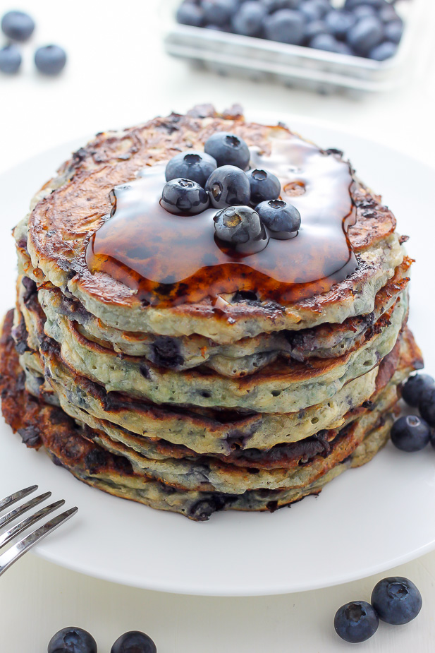 Blueberry Cottage Cheese Pancakes