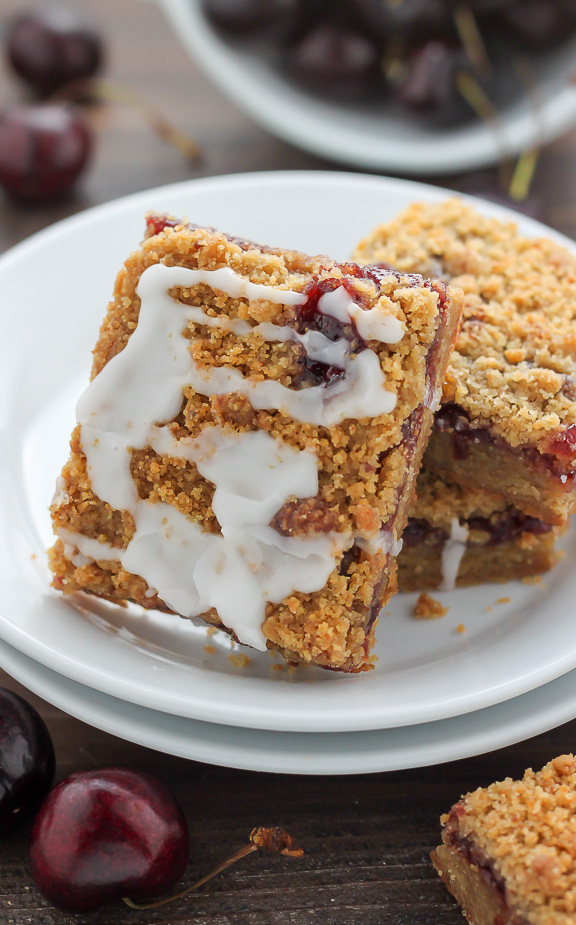Sweet and fruity Brown Butter Cherry Crumb Bars made with just 7 simple ingredients!