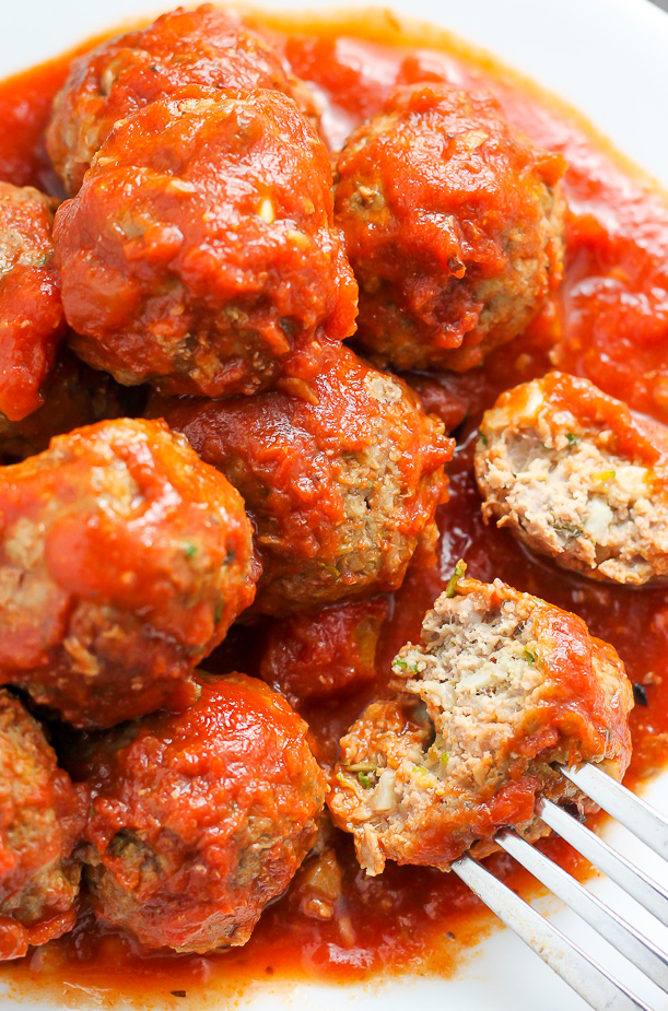 Juicy and flavorful turkey meatballs swimming in a sea of homemade marinara sauce. Baked and ready in about 30 minutes. YES.