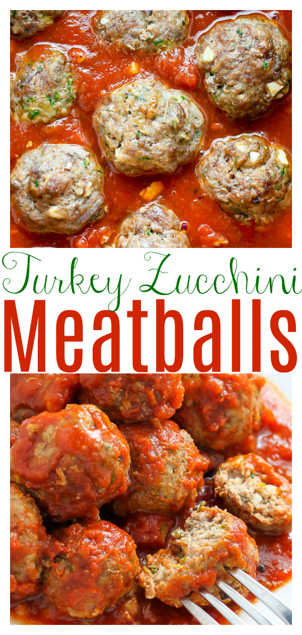 These juicy baked turkey zucchini meatballs are served with homemade marinara sauce! Ready in about 30 minutes, this is a crowd-pleasing recipe easy enough to whip up on a weeknight!