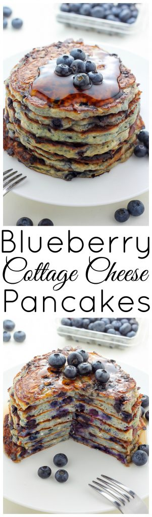Blueberry Cottage Cheese Pancakes - Light and incredibly fluffy, these Pancakes are a game changer! Drizzle with maple syrup and devour.