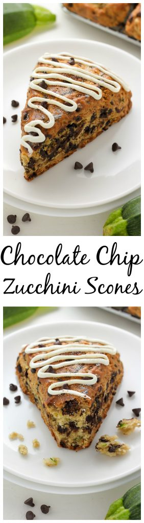 Chocolate Chip Zucchini Scones - Buttery Scones loaded with Mini Chocolate Chips and shredded Zucchini!