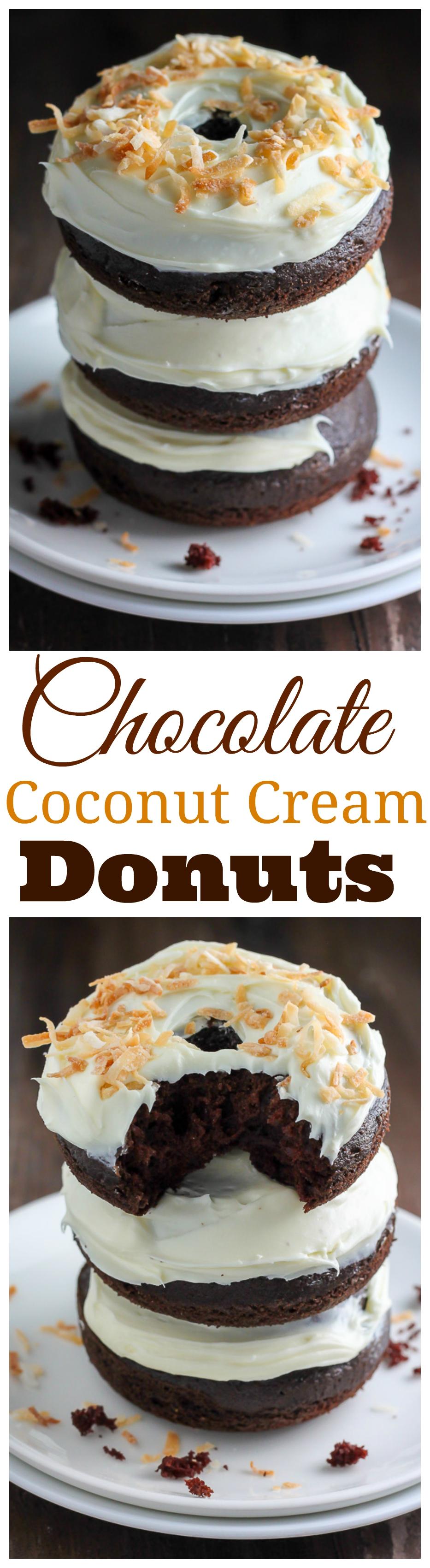 Chocolate Coconut Cream Donuts