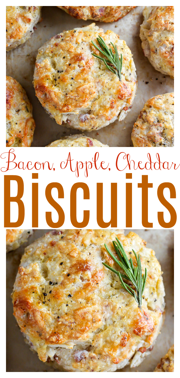 White cheddar cheese, crispy bacon, and apple make these buttery biscuits irresistible! Perfect for breakfast or as a side at dinner. Everyone loves these savory apple biscuits!