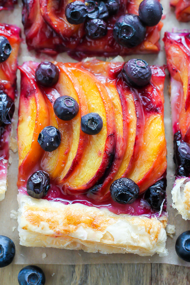 Easy Blueberry Peach Tart with Vanilla Glaze