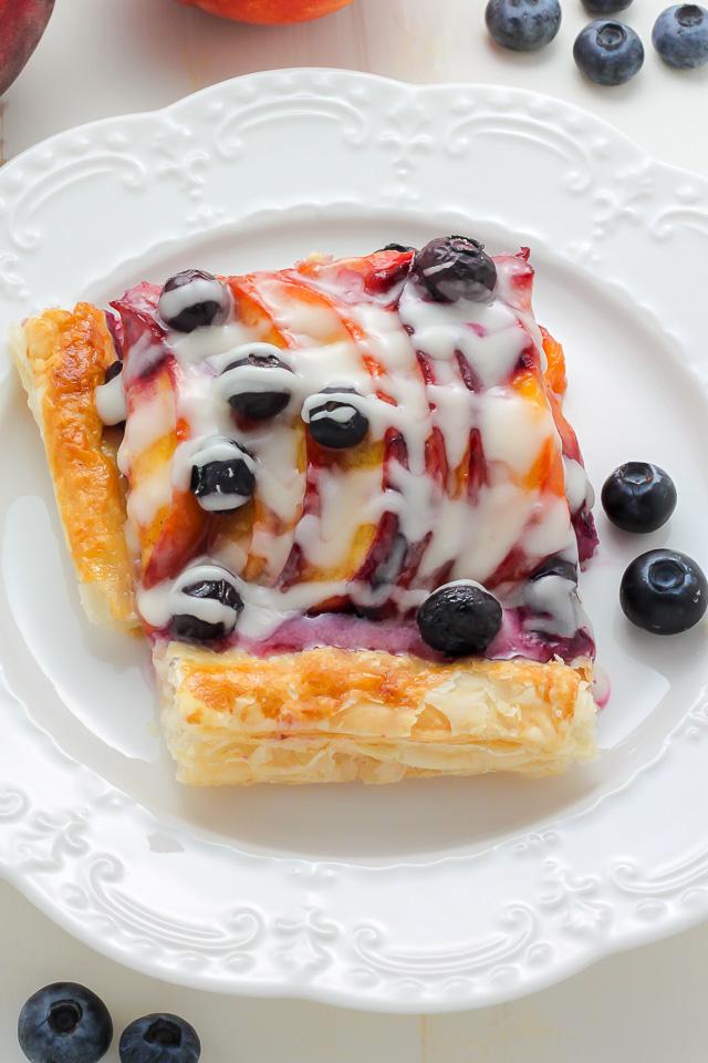 Easy Blueberry Peach Tart with Vanilla Glaze