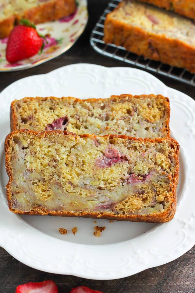 Greek Yogurt Strawberry Banana Bread