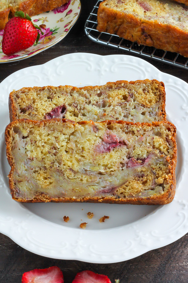 Greek Yogurt Strawberry Banana Bread - Baker by Nature