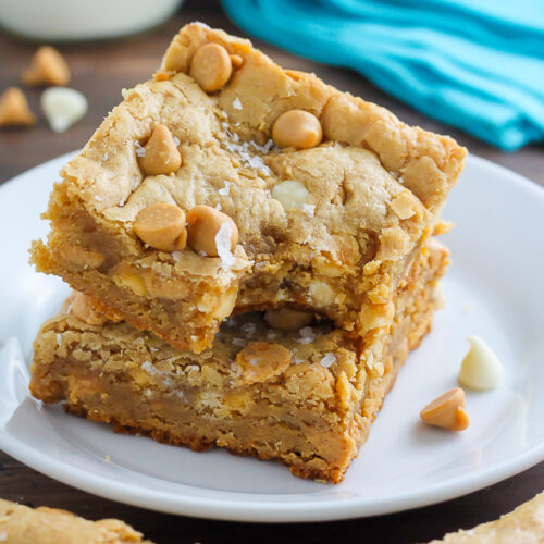 Thick and Chewy White Chocolate Peanut Butter Blondies