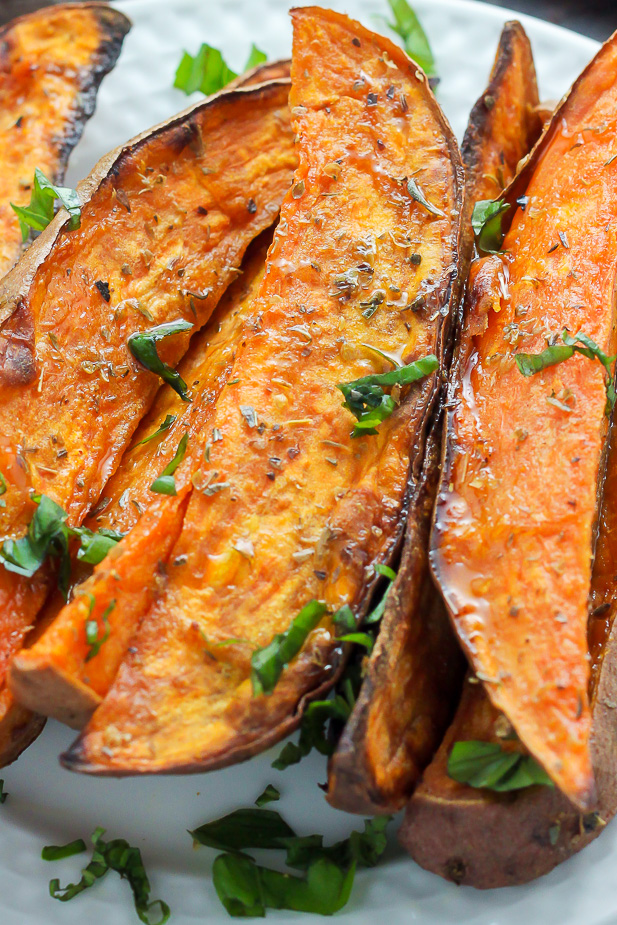 Extra Crispy Sweet Potato Wedges - Baker by Nature