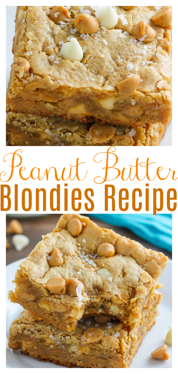 My favorite thick and chewy peanut butter blondie recipe loaded with creamy white chocolate and plenty of peanut butter chips! So good with a cup of coffee.