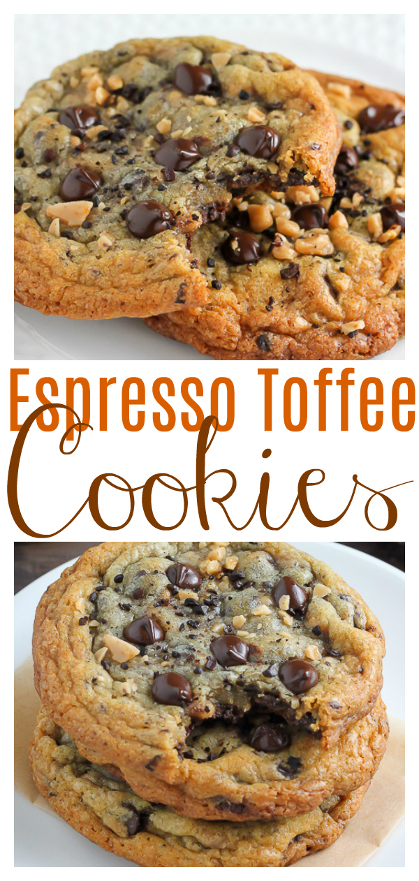 Thick and Chewy Espresso Toffee Chocolate Chip Cookies!!! Loaded with gooey chocolate chips, toffee bits, and chocolate covered espresso beans, these cookies are so flavorful! Who needs a cup of coffee in the morning when you can have one of these cookies instead?