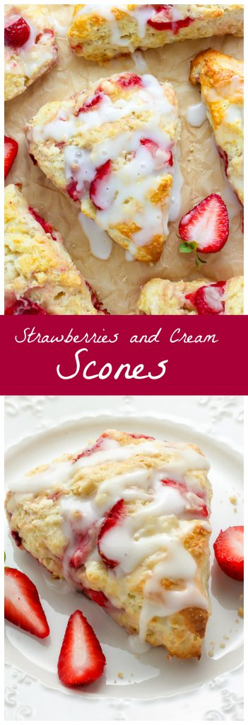 My favorite scone recipe loaded with fresh strawberries and topped with a creamy vanilla glaze!