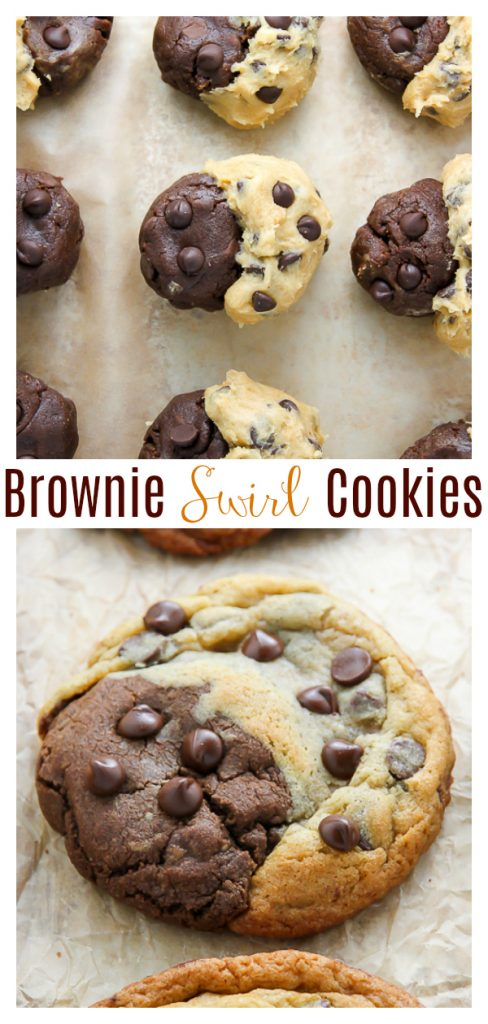Chocolate Chip Brownie Swirl Cookies (aka Brookies) are half chocolate chip cookie and half brownie cookie! These Brookies are truly the best of both worlds!