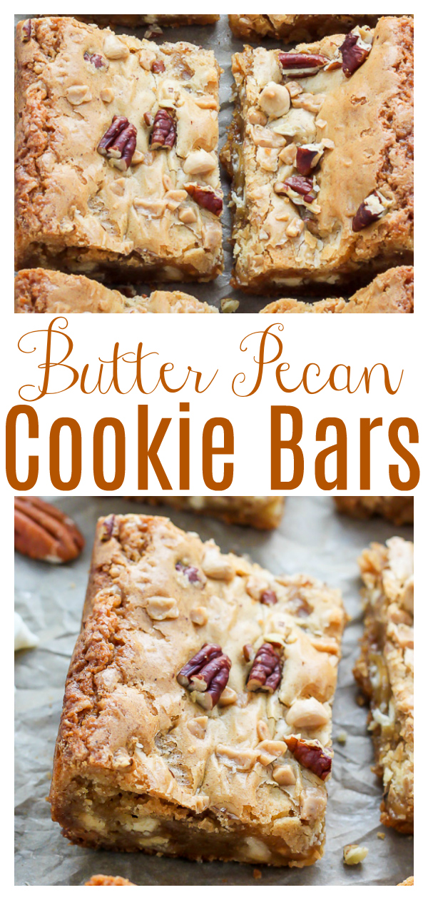 White Chocolate Butter Pecan Blondies are a quick, easy, and impressive holiday bake! Loaded with gooey white chocolate chips, crunchy buttered pecans, and sweet toffee! These chewy brown sugar blondies are irresistible!