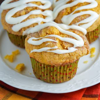 Simple Pumpkin Muffins with Vanilla Glaze
