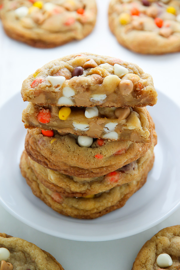 white chocolate reeses pieces peanut butter chip cookies
