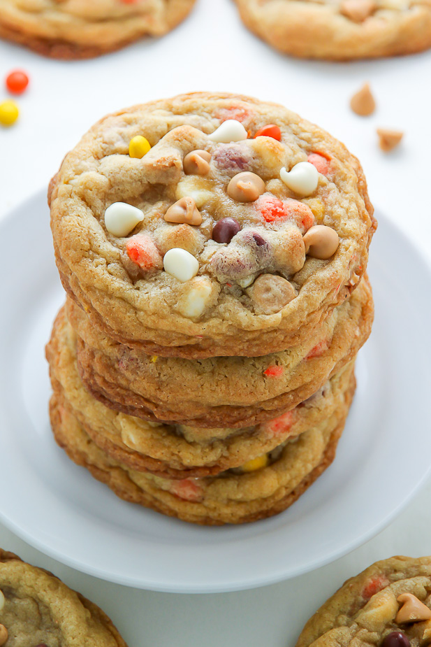 White Chocolate Reese's Pieces Peanut Butter Chip Cookies