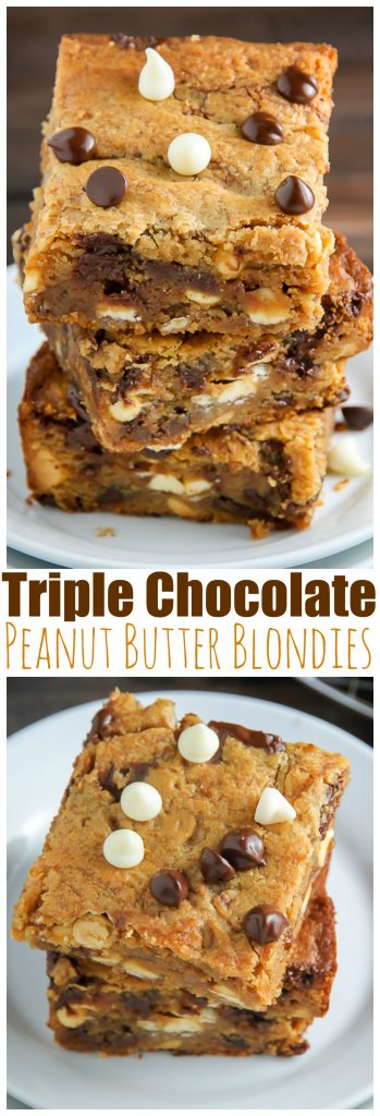 Holy YUM! Triple Chocolate PEANUT BUTTER Blondies are ready in 30 minutes!