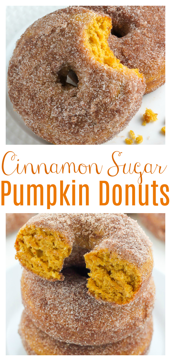 Pumpkin Cinnamon Sugar Donuts are baked, not fried, and ready in less than 20 minutes! So easy and perfect for breakfast! Pumpkin pie puree and pumpkin spice give these baked donuts incredible pumpkin flavor!