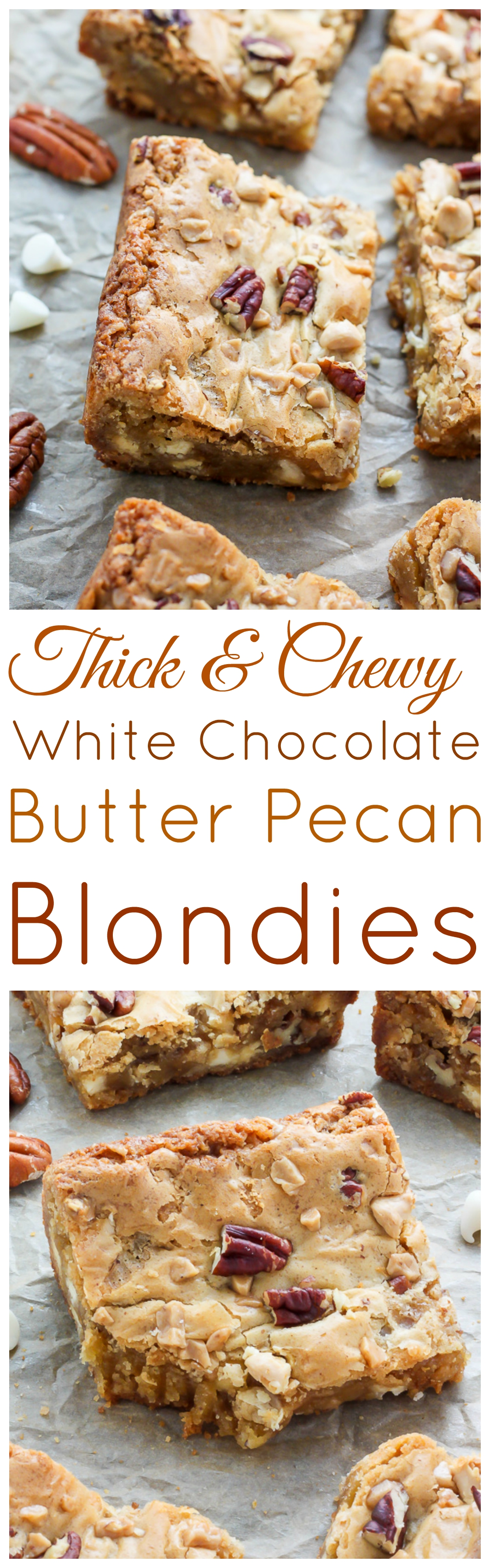 White Chocolate Butter Pecan Blondies - Baker by Nature