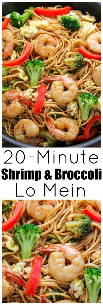 20 minute shrimp and broccoli lo mein baker by nature. Black Bedroom Furniture Sets. Home Design Ideas