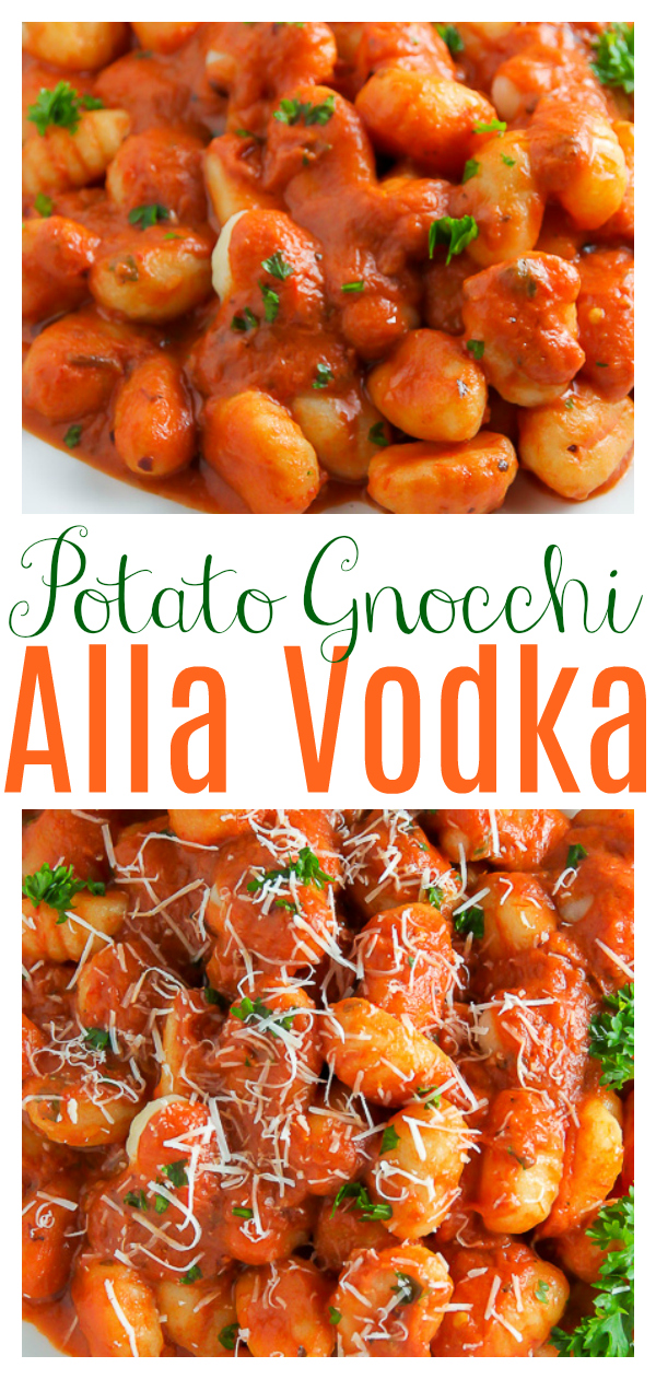 Soft pillows of potato gnocchi coated in a rich tomato vodka sauce! Can you think of anything better? This Gnocchi alla Vodka is so easy and a family favorite!