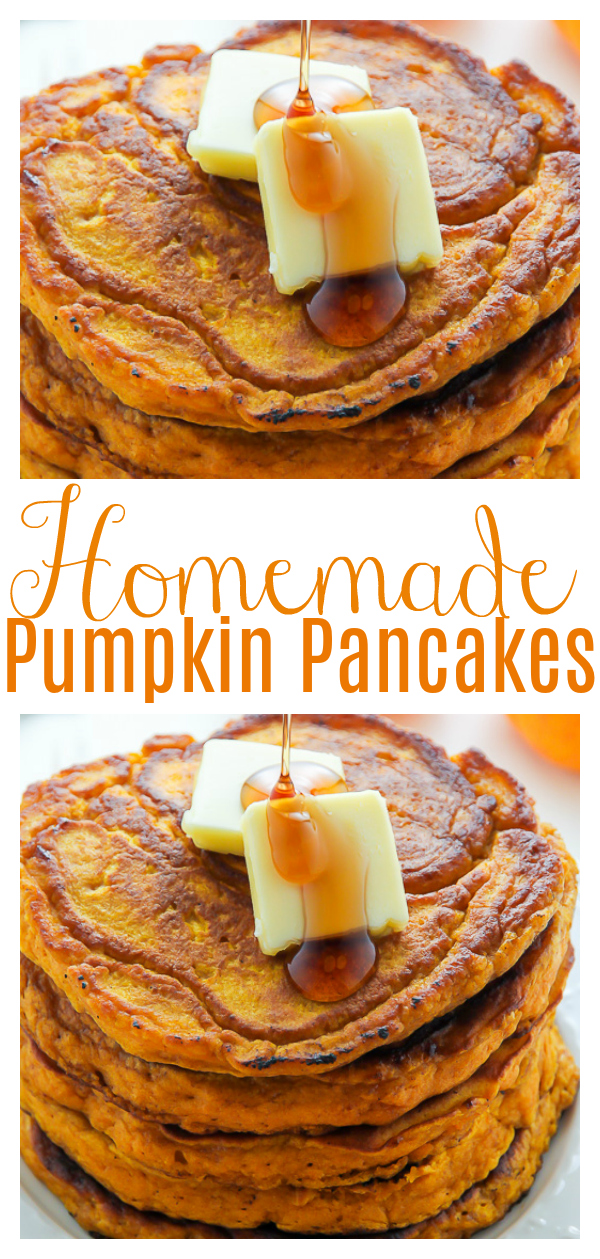 These Fluffy Pumpkin Pancakes are moist, tender, and FULL of real pumpkin flavor! Made with pumpkin puree and warming Fall spices, these are the perfect breakfast to welcome to the new season! Bonus: you can freeze any leftovers for up to 2 months!