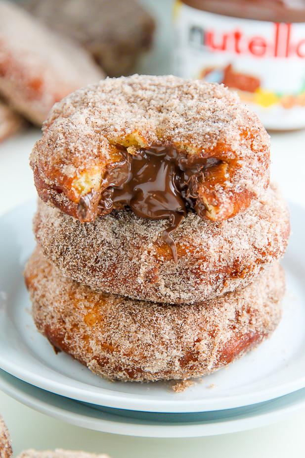 Nutella Cinnamon Sugar Doughnuts - Baker by Nature