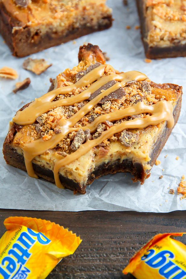 If the thought of Creamy Butterfinger Finger Cheesecake Brownies ...