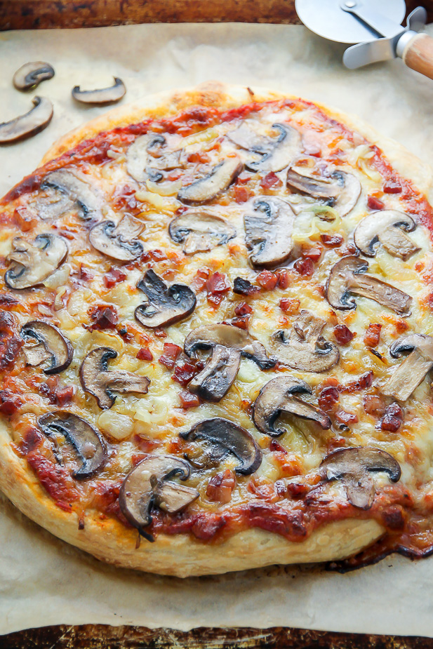 Mushroom Pizza with Pancetta and Caramelized Onions... the perfect pizza night indulgence!