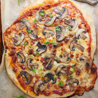 Mushroom Pizza with Pancetta and Caramelized Onions