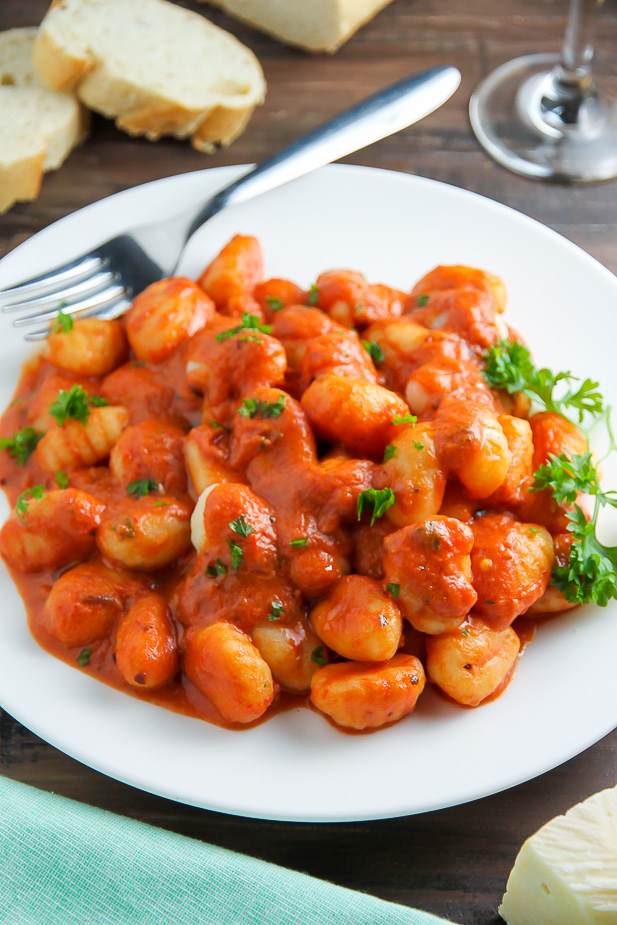 Soft pillows of potato gnocchi coated in a rich tomato vodka sauce.