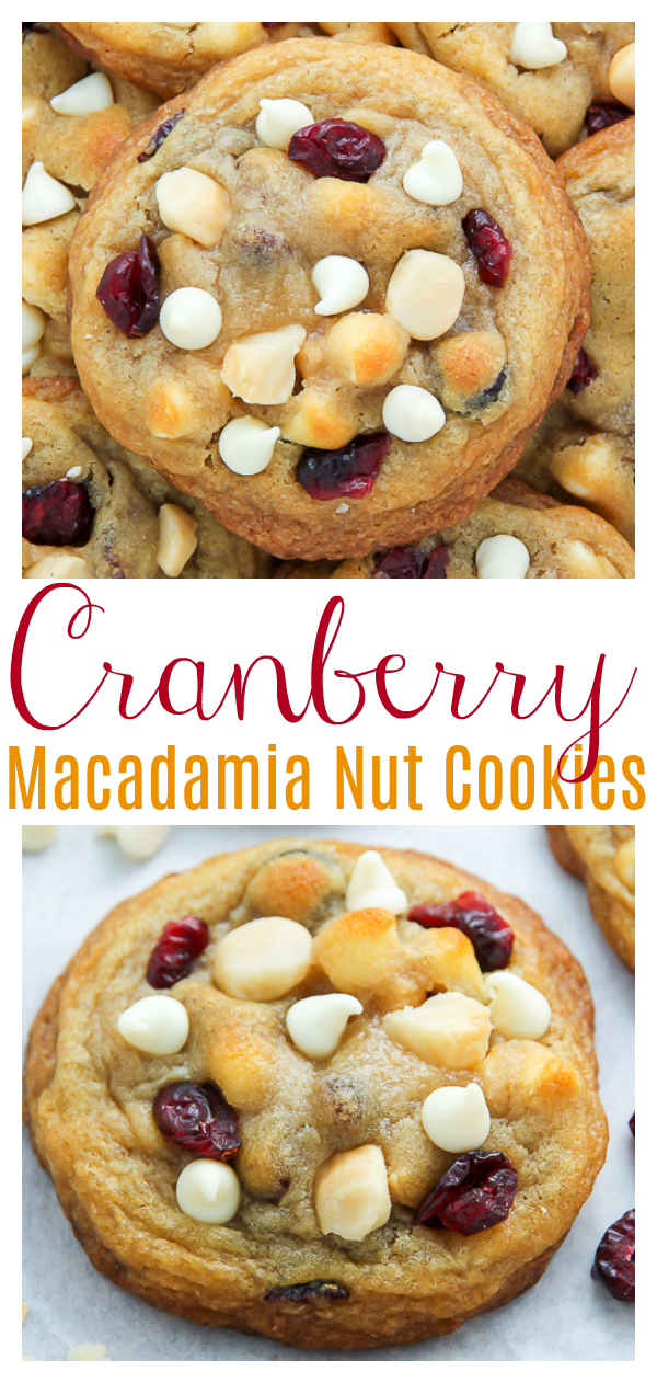 My signature cookie recipe loaded with cranberries, white chocolate chips, and crunchy macadamia nuts! The best part? No cookie dough chilling required. Hallelujah, these cookies can be on your counter in 30 minutes.
