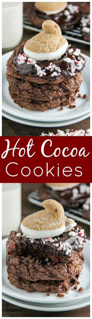 You're going to love these Peppermint Hot Chocolate Cookies! Topped with a drizzle of rich chocolate ganache, a sprinkle of crushed candy canes, and a hot cocoa and cream flavored peeps marshmallow.
