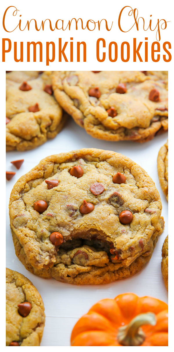 Tired of cakey pumpkin cookies? Try these Chewy Cinnamon Chip Pumpkin Cookies!!! Made with a 1/2 cup of real pumpkin puree plus pumpkin spices, they're soft and chewy and loaded with flavor!