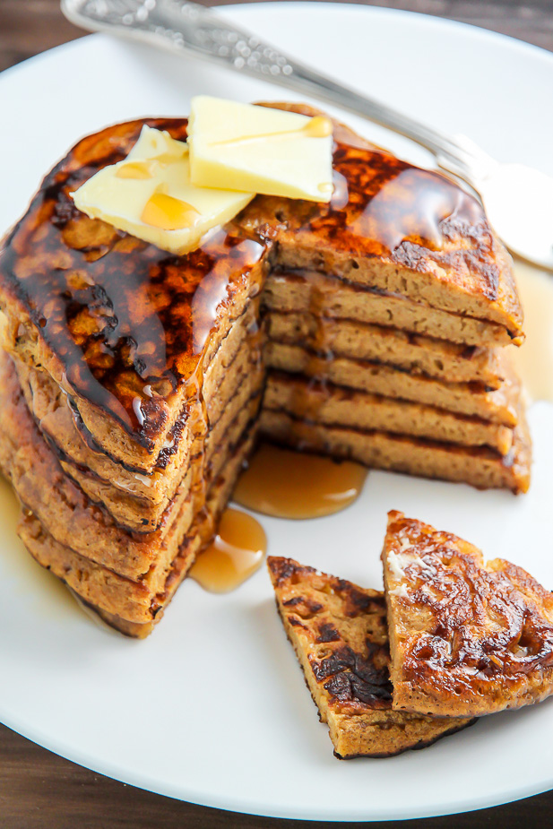 Moist and fluffy Gingerbread Pancakes made with whole wheat flour and a subtle amount of sugar! We love these.