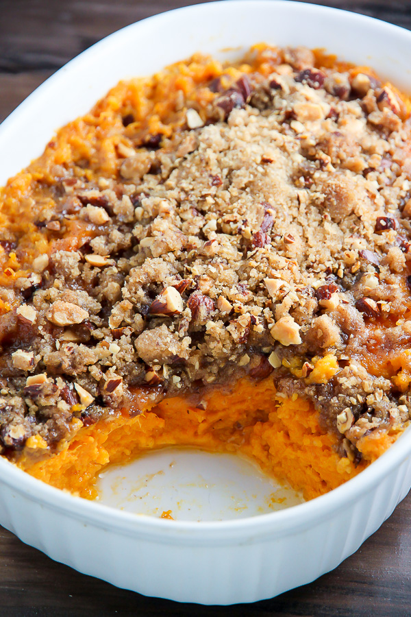 Creamy sweet potato casserole topped with crunchy brown sugar and almond streusel.