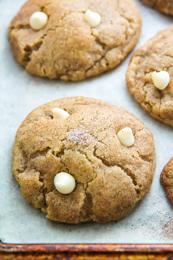 Soft and chewy cinnamon sugar snickerdoodles loaded with creamy white chocolate chips.